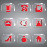 Glass Icons Set Red Stock Photography
