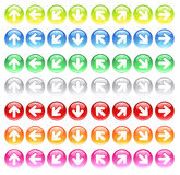 Glass icons with symbols arrows. Round computer icons of colored glass with carved symbols of the arrows vector illustration