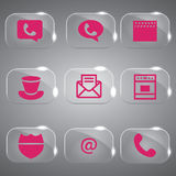Glass Icons Vector Pink Set. Collection of pink icons set vector design royalty free illustration