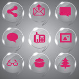 Glass icons. A Glass icons vector set Illustration Mail Royalty Free Stock Images
