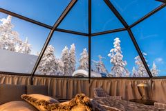Glass igloo in Lapland near Sirkka, Finland. Glass igloo accommodation in Lapland near Sirkka, Finland royalty free stock image