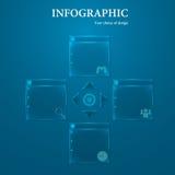 Glass information-diagram på en litet märkbar bakgrund med glödande beståndsdelar i formen av en pil Arkivfoton