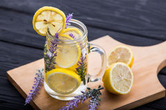 A glass infused water of lemon and lavender Stock Photography
