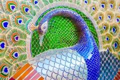 Glass inläggarbete - påfågel, Udaipur slott, Indien Royaltyfria Foton