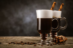 Glass of Irish coffee Royalty Free Stock Images