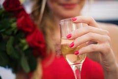 glass isoleringswhite för champagne Arkivbilder