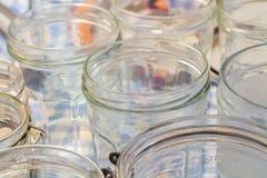 Glass jam jars Stock Photos