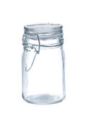 Glass jar. Empty glass jar isolated on pure  white background Royalty Free Stock Image