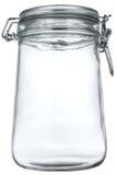Glass jar. Transparent glass jar with seal Stock Photography