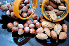 Glass jar with almonds and hazelnuts Stock Photography