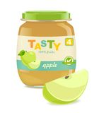 Glass jar with apple baby food Royalty Free Stock Photo