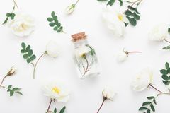 Glass jar with aroma water and beautiful rose flowers for spa and aromatherapy. Top view and flat lay style. Stock Images