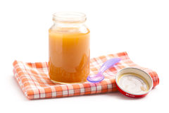 Glass jar of baby food Stock Photos