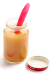 Glass jar of baby food Royalty Free Stock Photos