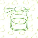 Glass jar on the background of pears� Royalty Free Stock Photography