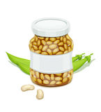 Glass jar with Bean and pods Royalty Free Stock Image