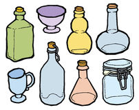 Glass jar and bottles with cork vector drawing Royalty Free Stock Photos