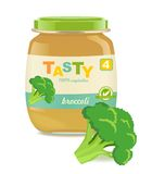 Glass jar with broccoli baby food Royalty Free Stock Images