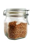 Glass jar with buckwheat Royalty Free Stock Photo