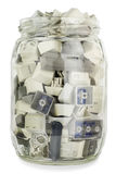 Glass jar with buttons from standart keyboards Stock Photo