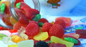 Glass jar with candies Stock Photos