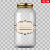 Glass Jar for canning with label. Big Glass Jar for canning and preserving with sticker label. Vector Illustration  on transparent background Royalty Free Stock Photos