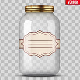 Glass Jar for canning with label Royalty Free Stock Images