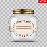 Glass Jar for canning with label Royalty Free Stock Photography