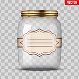 Glass Jar for canning with label Stock Images