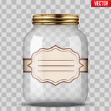 Glass Jar for canning with label. Glass Jar for canning and preserving with sticker label. Vector Illustration  on transparent background Royalty Free Stock Photos