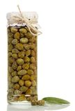 Glass jar with capers Royalty Free Stock Photography