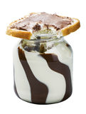 Glass jar with chocolate spread Stock Photography