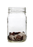 Glass jar of coins Royalty Free Stock Image