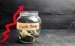 Glass jar with coins and the inscription ` Cash flow ` and up arrow. Financial concept. Investments and growth of assets, retireme. Nt plan, wages. Money circuit royalty free stock photo