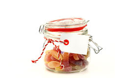 Glass jar with  colorful candy Stock Image