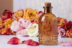 Attar of roses. Still life. stock image