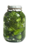 Glass jar with cucumbers Royalty Free Stock Photo