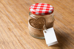 Glass jar decorated for Valentine's Day gift Stock Photography