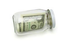 glass jar en för dollar oss Royaltyfri Foto