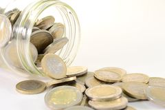 Glass jar with euro coins Stock Images
