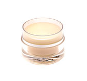 Glass jar of face cream isolated on white Royalty Free Stock Images