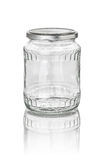 Glass jar with facets. Isolated glass jar with facets stock image