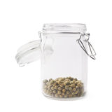 Glass jar filled with green peppercorn Stock Photography