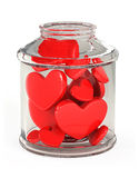 Glass jar filled with hearts Royalty Free Stock Photo