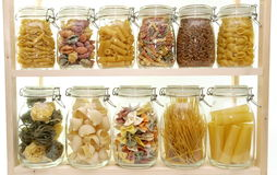 Glass jar filled with  pasta Royalty Free Stock Images