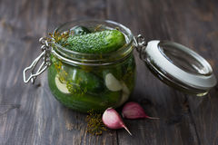 Glass jar of fresh low-salt pickled cucumbers Stock Image