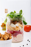 Glass jar with fresh salad Royalty Free Stock Photography