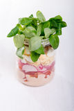 Glass jar with fresh salad Stock Photo