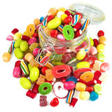 Glass jar full of candies Stock Images