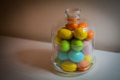 Easter eggs in a glass jar Royalty Free Stock Photo
